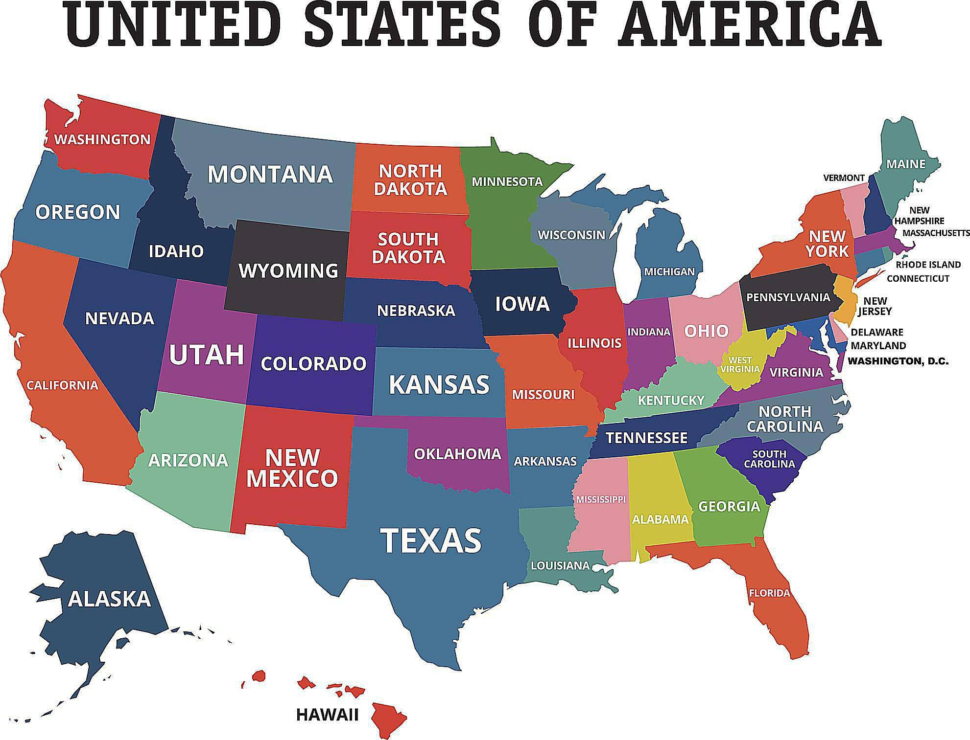 Sad 50 Drzava Karta Karta Sad U 50 Americkih Drzava Sjeverna