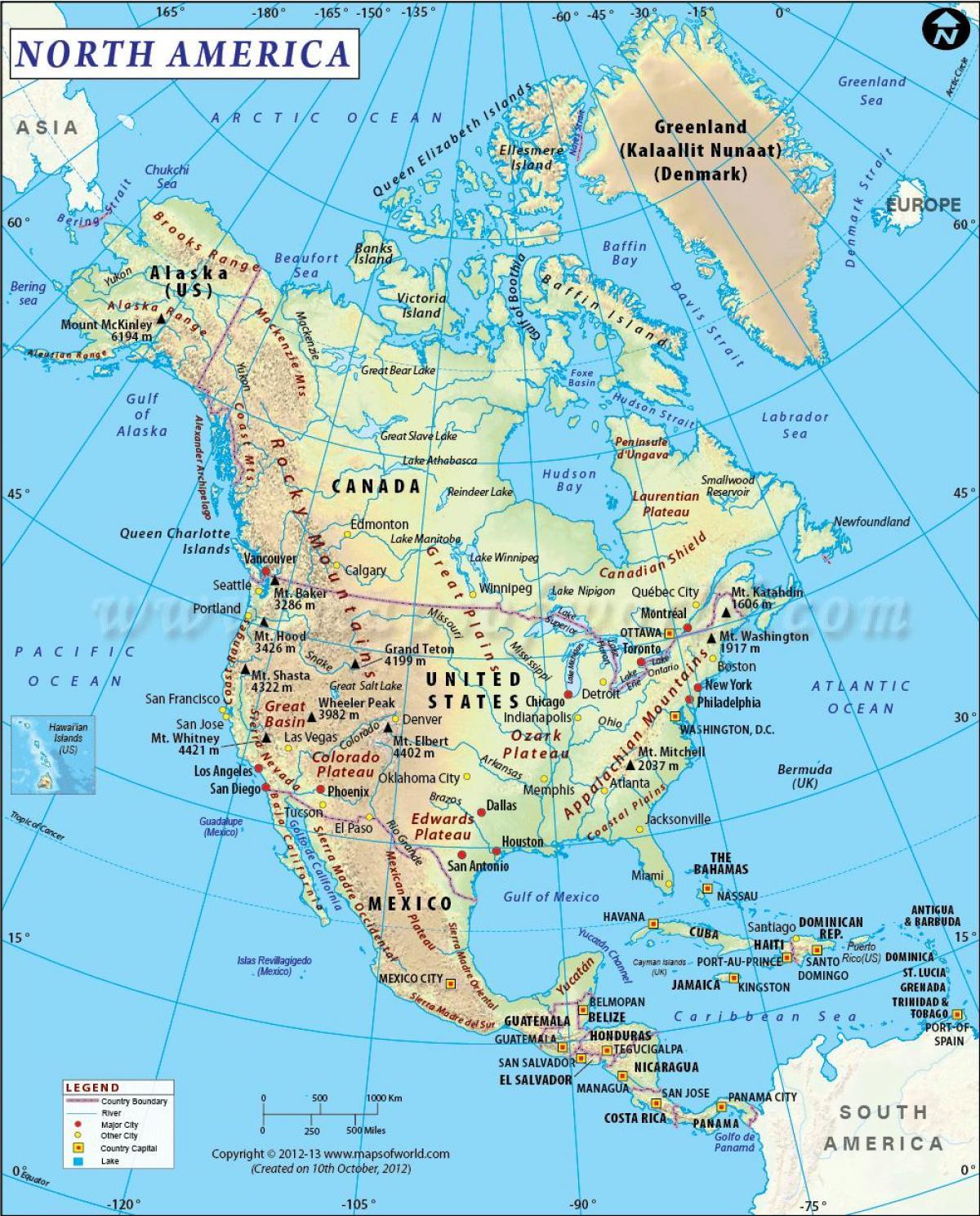 Sjeverna Amerika Karta Regija Sjevero Americka Karta Regije