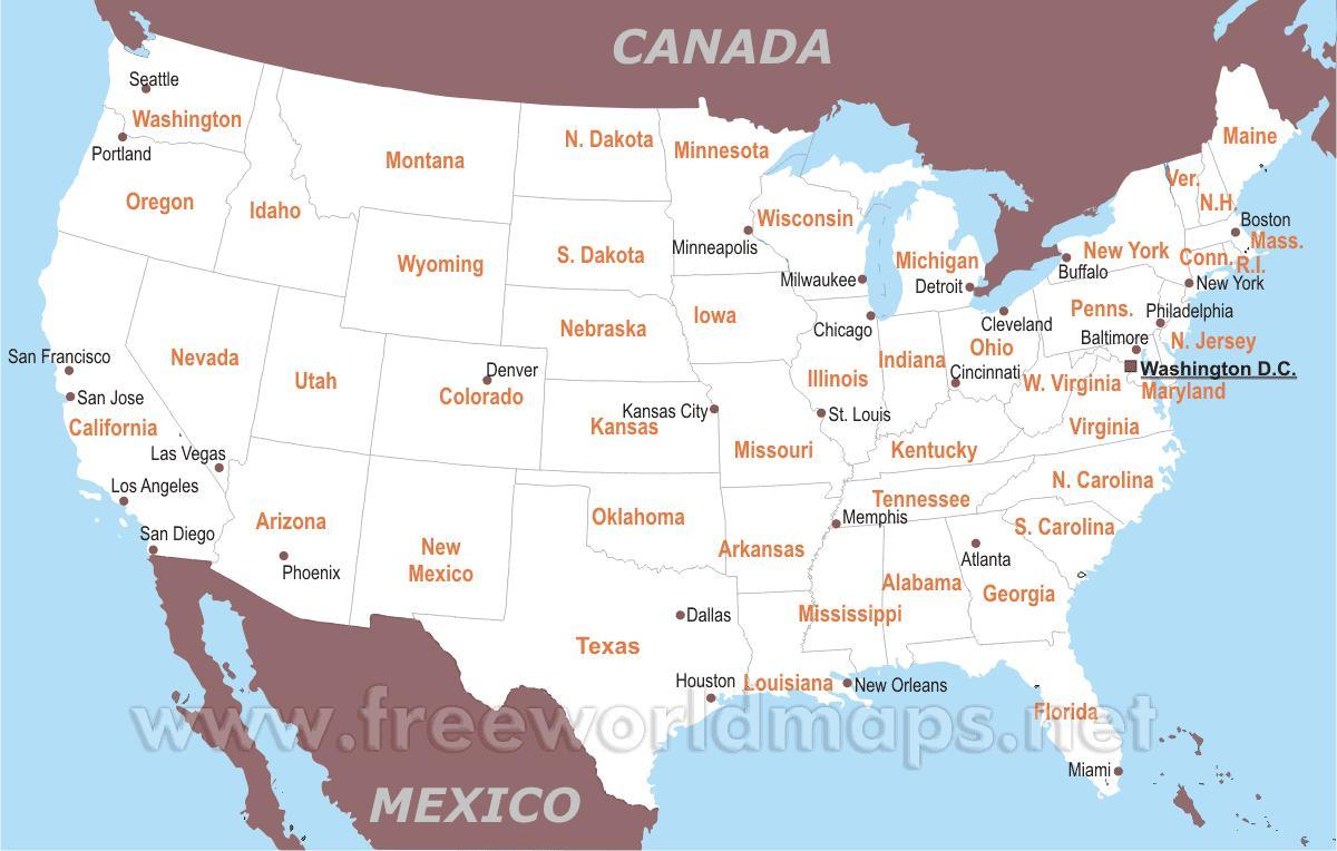 Amerika Gradovi Karta.Za Ispis Kartica U Sad U S Gradovima Karta Sad Sa Gradovima Za